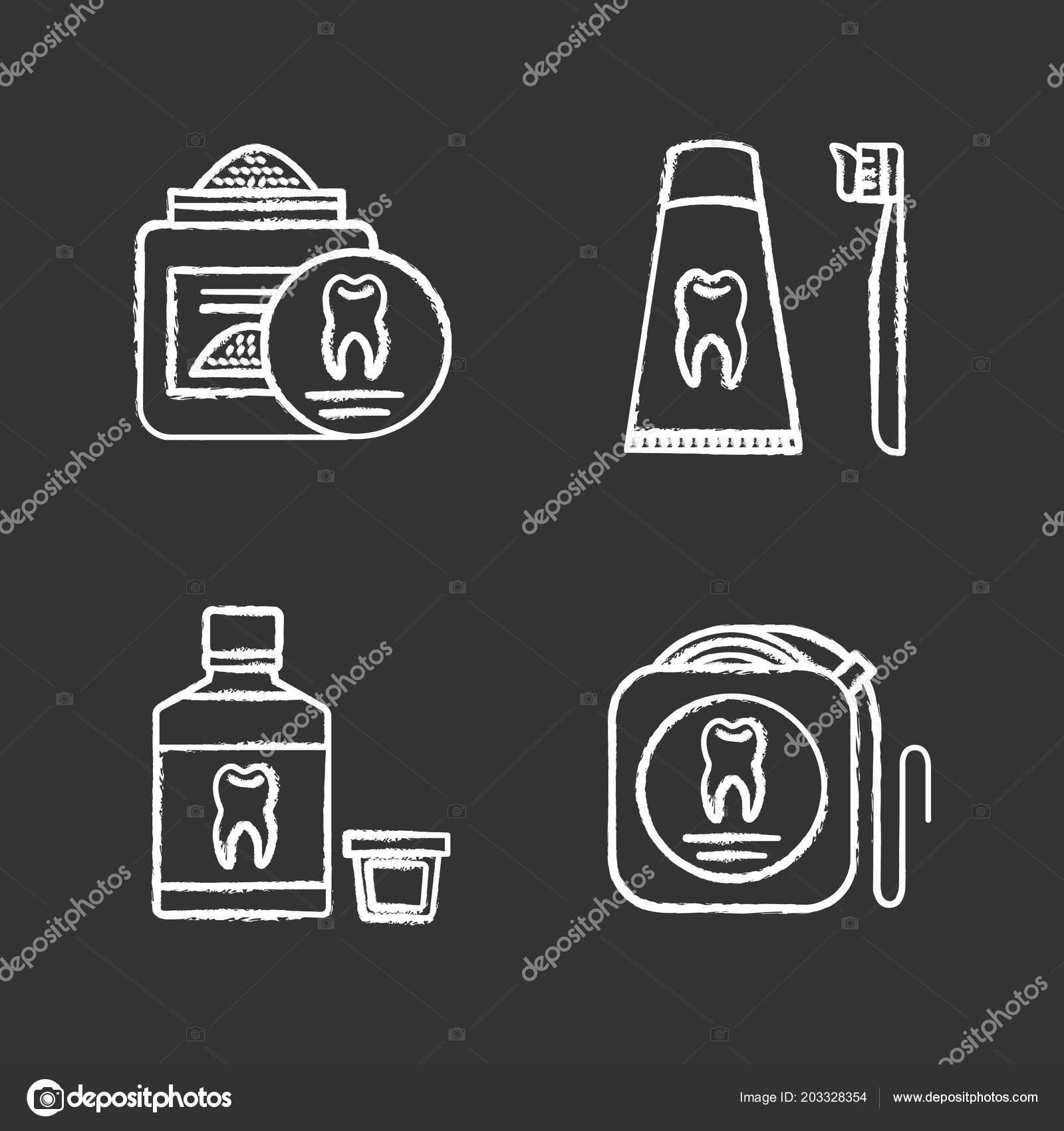 25881373e Conjunto de ícones de giz de odontologia. Estomatologia. Pó de dente