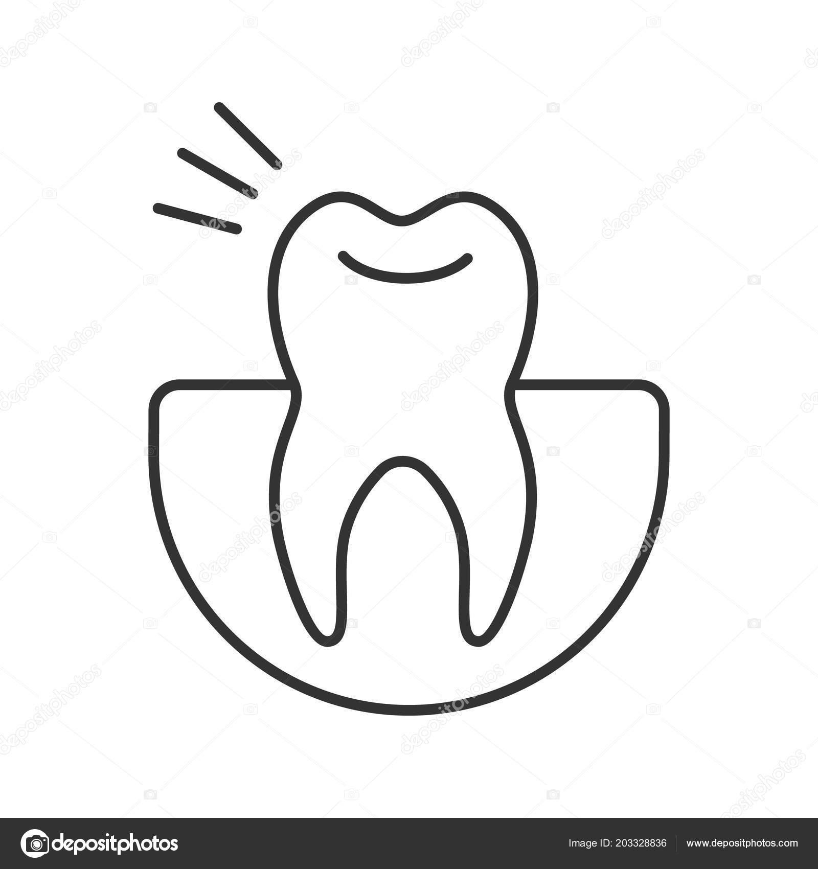 Ic ne lin aire maux dents illustration ligne mince symbole - Dessin contour ...