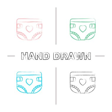 Baby diaper hand drawn icons set. Nappy. Color brush stroke. Isolated vector sketchy illustrations