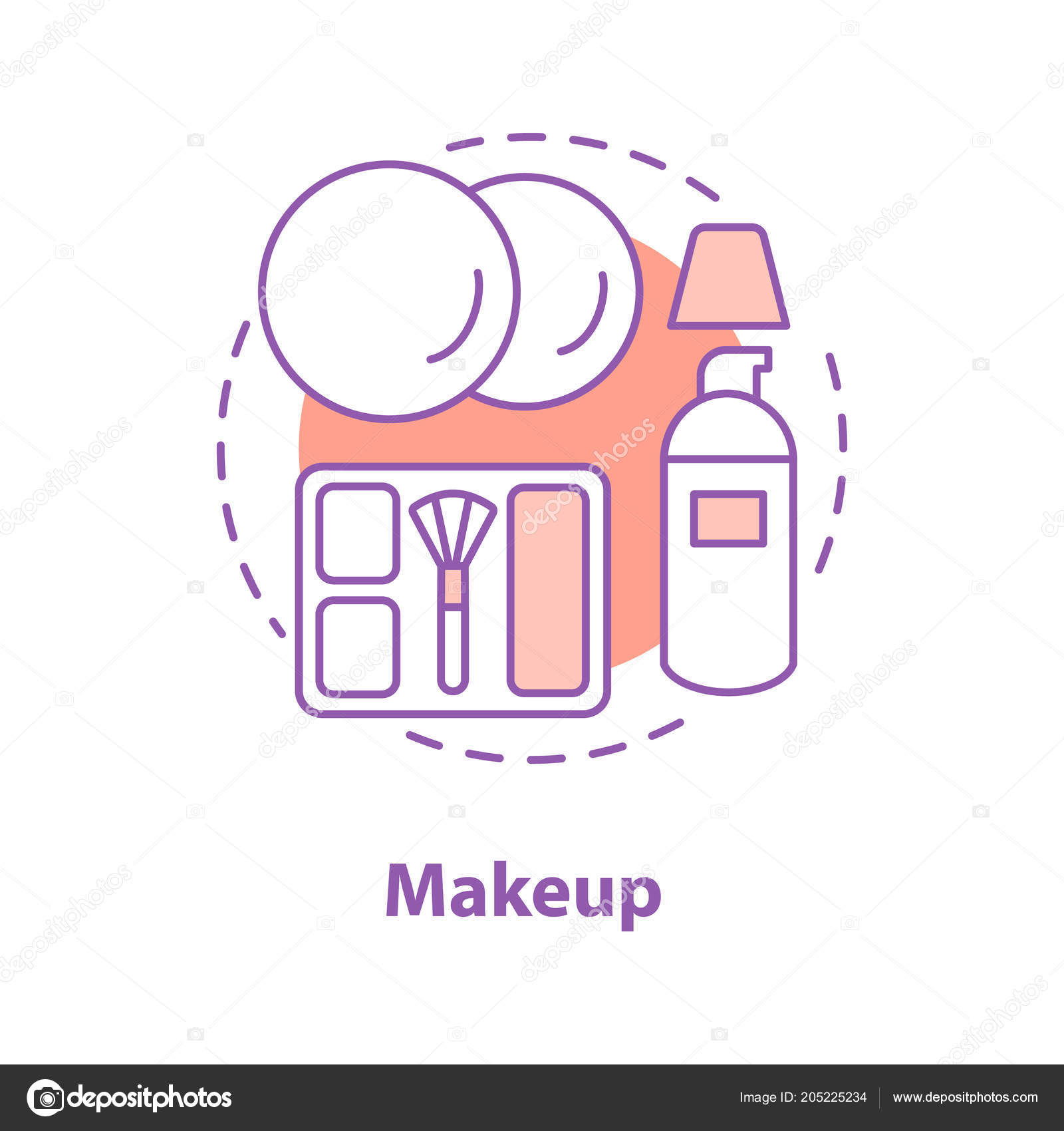 Makeup Concept Icon Cosmetics Idea Thin Line Illustration
