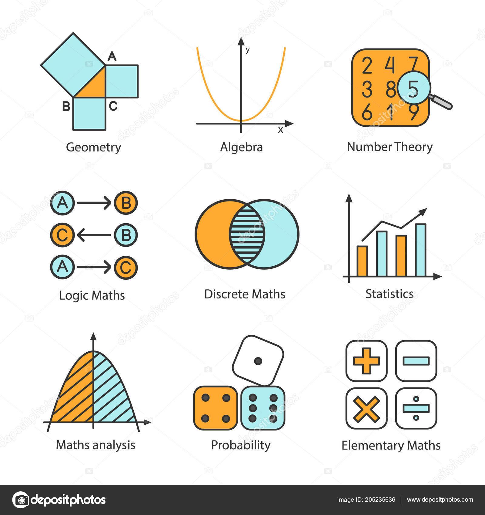 Conjunto ícones Cor Matemática álgebra Geometria Lógica Matemática
