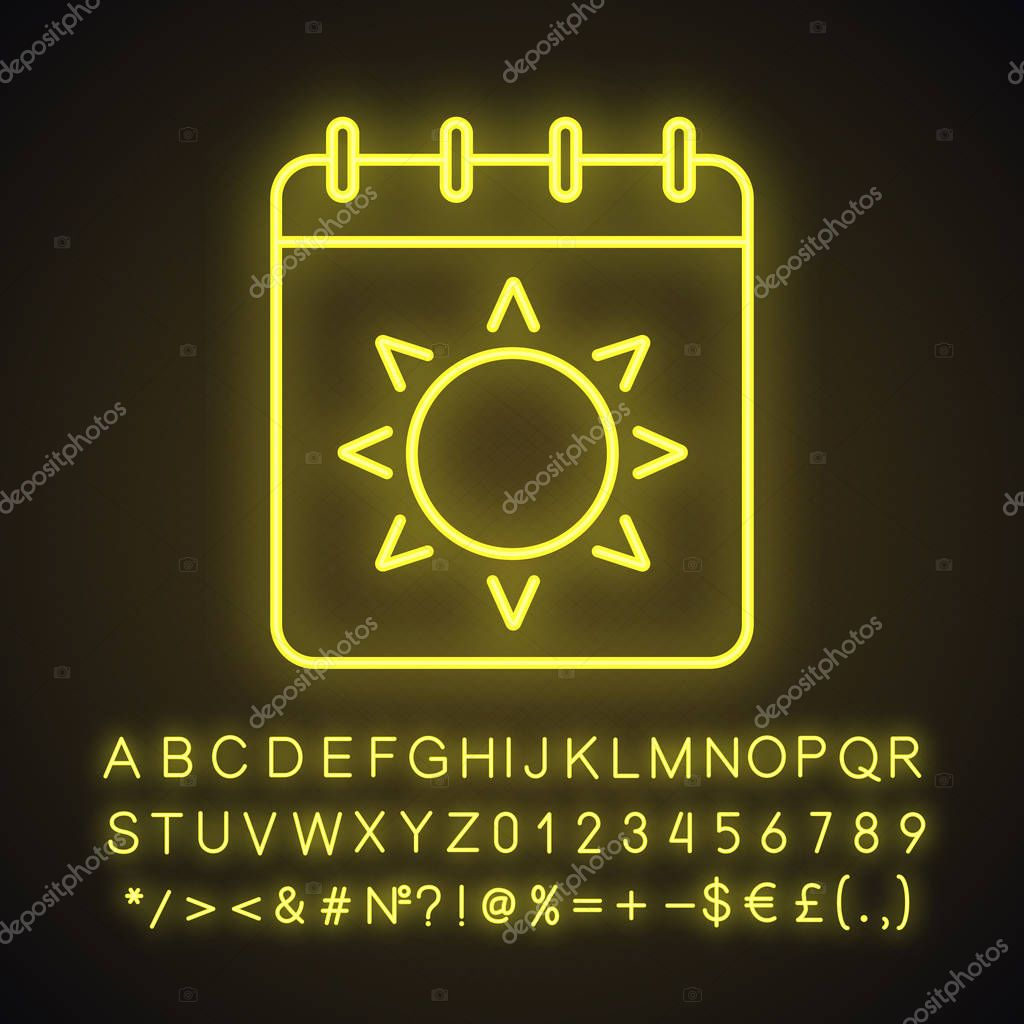 Summer season neon light icon. Calendar page with sun. Glowing sign with alphabet, numbers and symbols. Vector isolated illustration