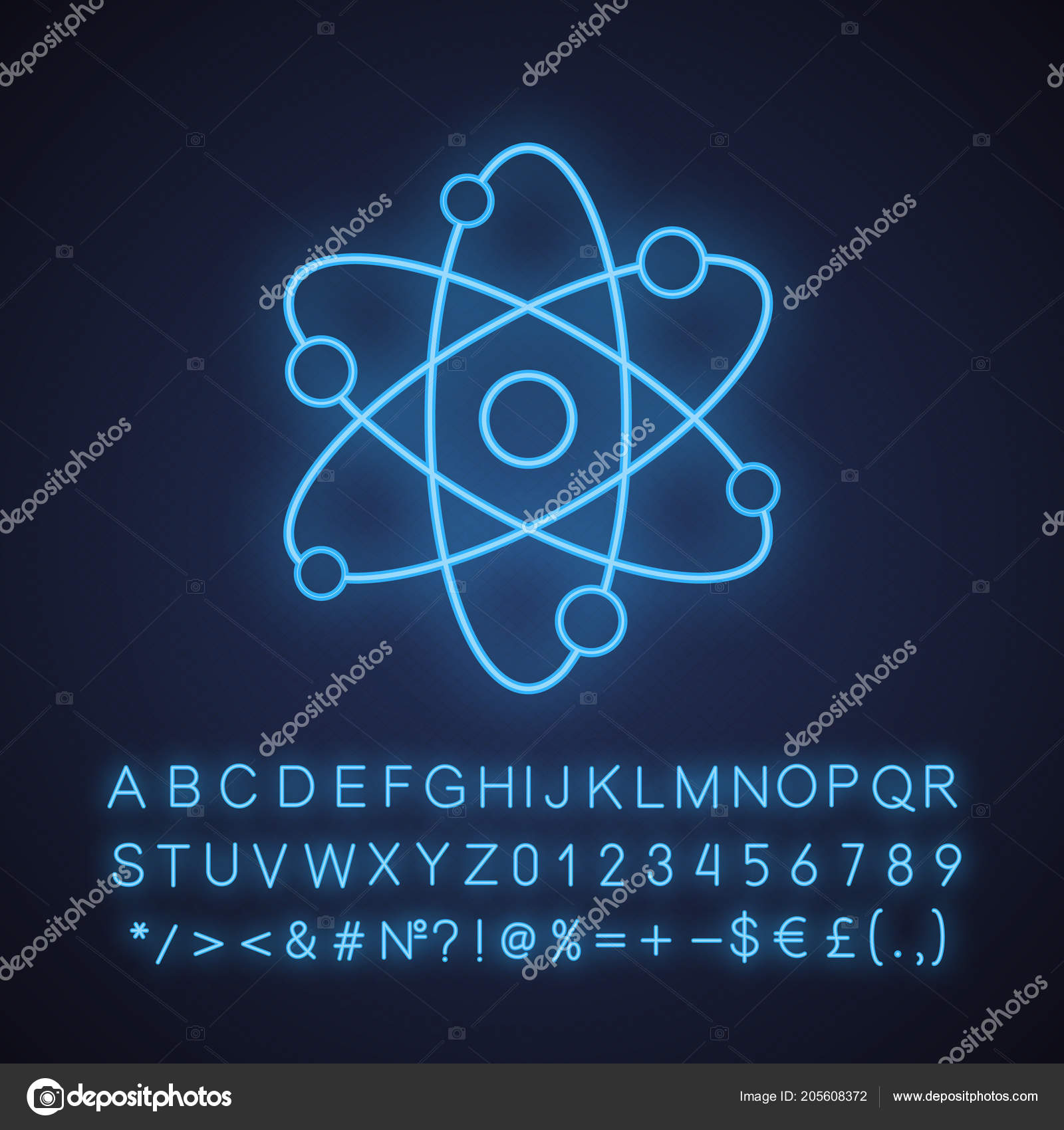 ícone Luz Néon Estrutura Atômica Física Sinal Brilhante Com