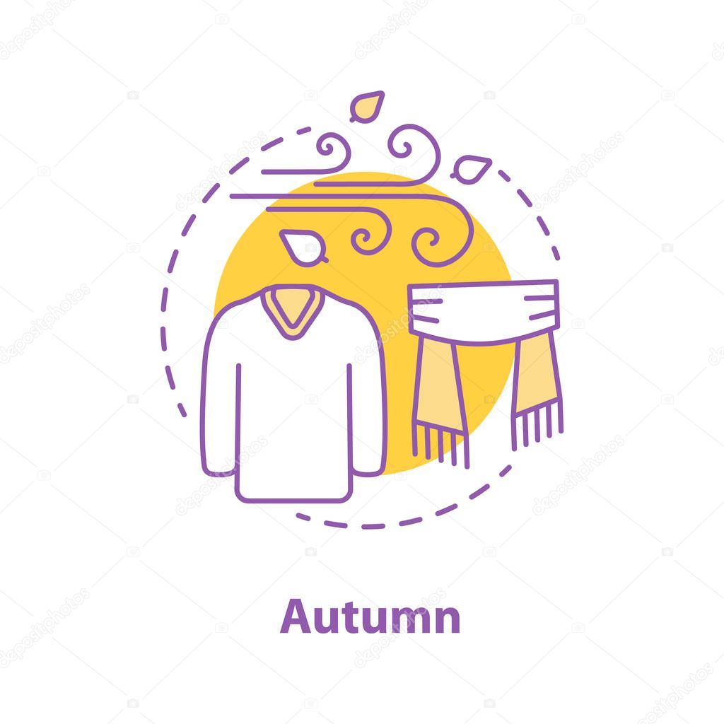 Autumn Season Concept Icon Cold Windy Weather Idea Thin Line Illustration Warm Sweater And Scarf Vector Isolated Outline Drawing Premium Vector In Adobe Illustrator Ai Ai Format Encapsulated Postscript