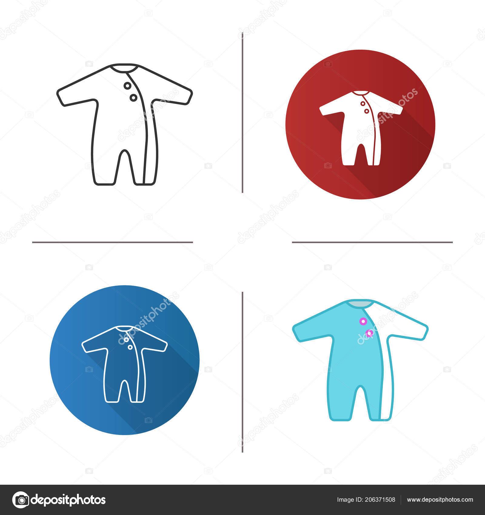 ca4b8b44eb2 Baby Romper Icon Newborn Baby Overalls Flat Design Linear Color ...
