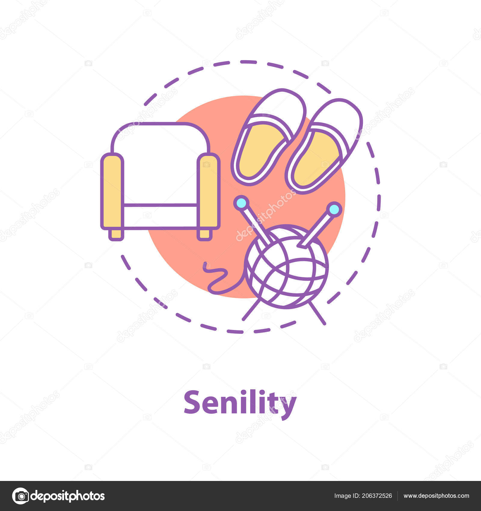 Senility Concept Icon. Elderly Idea Thin Line Illustration. Armchair,  Slippers, Knitting Wool And Needle. Vector Isolated Outline Drawing U2014  Vector By Bsd
