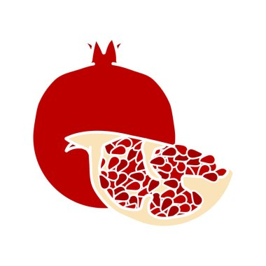 Pomegranate glyph color icon. Silhouette symbol on white background with no outline. Negative space. Vector illustration
