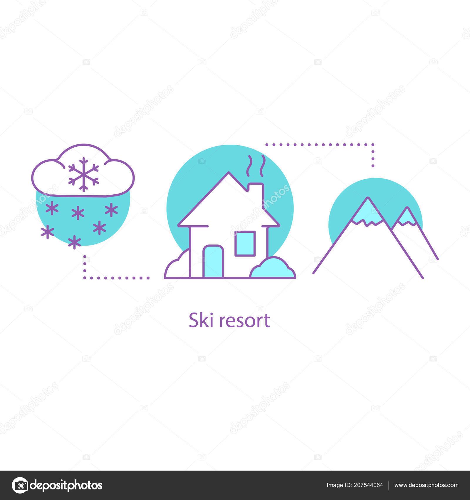 Winter Season Concept Icon Ski Resort Snowy Weather Idea