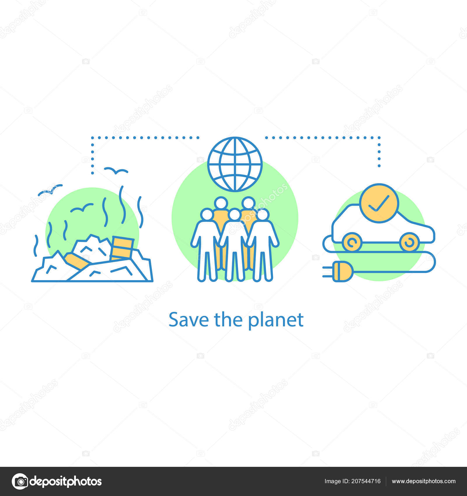 Environment protection idea thin line illustration nature care pollution prevention vector isolated outline drawing vector by