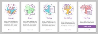 Biology branches onboarding mobile app page screen with linear concepts. Zoology, botany, virology, microbiology, mycology steps graphic instructions. UX, UI, GUI vector template with illustrations