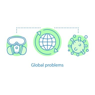 Global problems concept icon. Epidemic idea thin line illustration. Viruses diseases. Vector isolated outline drawing