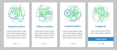 Smoking onboarding mobile app page screen with concepts. Marijuana culture, tobacco smoking, e-cigarettes, hookah tradition steps graphic instructions. UX, UI, GUI vector template with illustrations