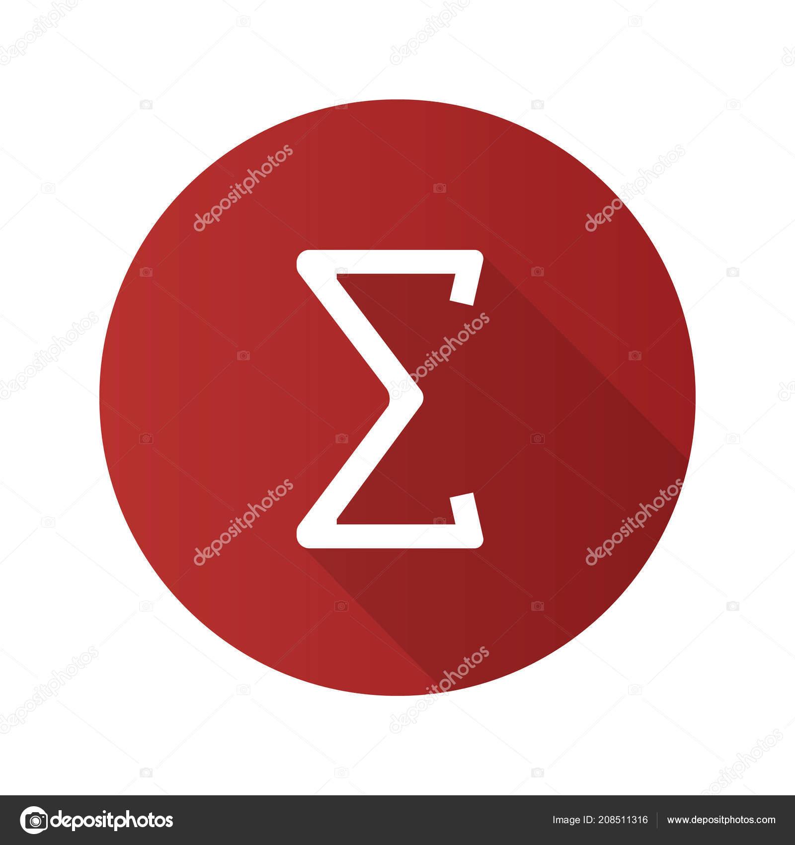 Summation Flat Design Long Shadow Glyph Icon Sum Total Math