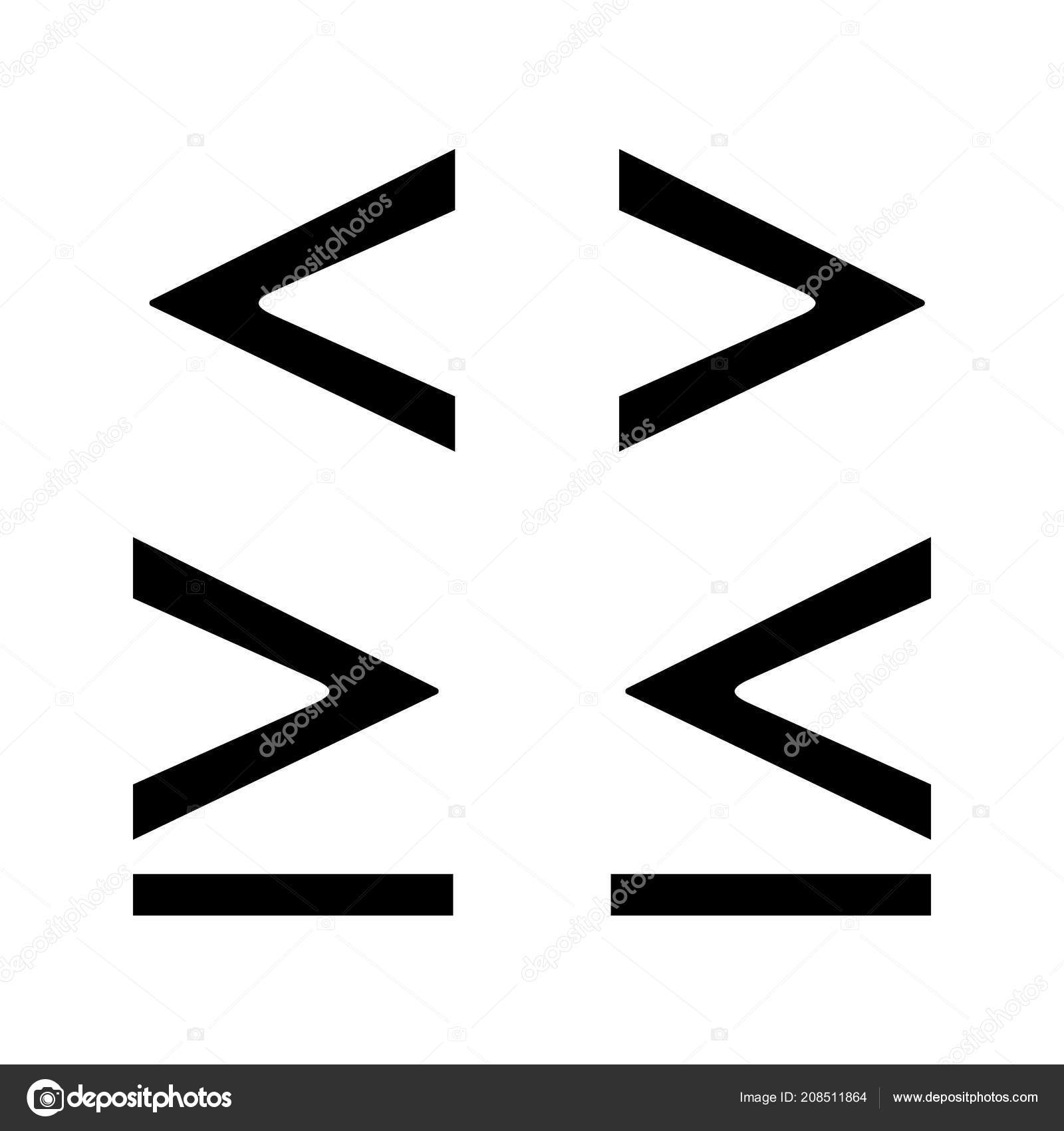 Math Symbols Glyph Icon Less Greater Equal Signs Silhouette Symbol