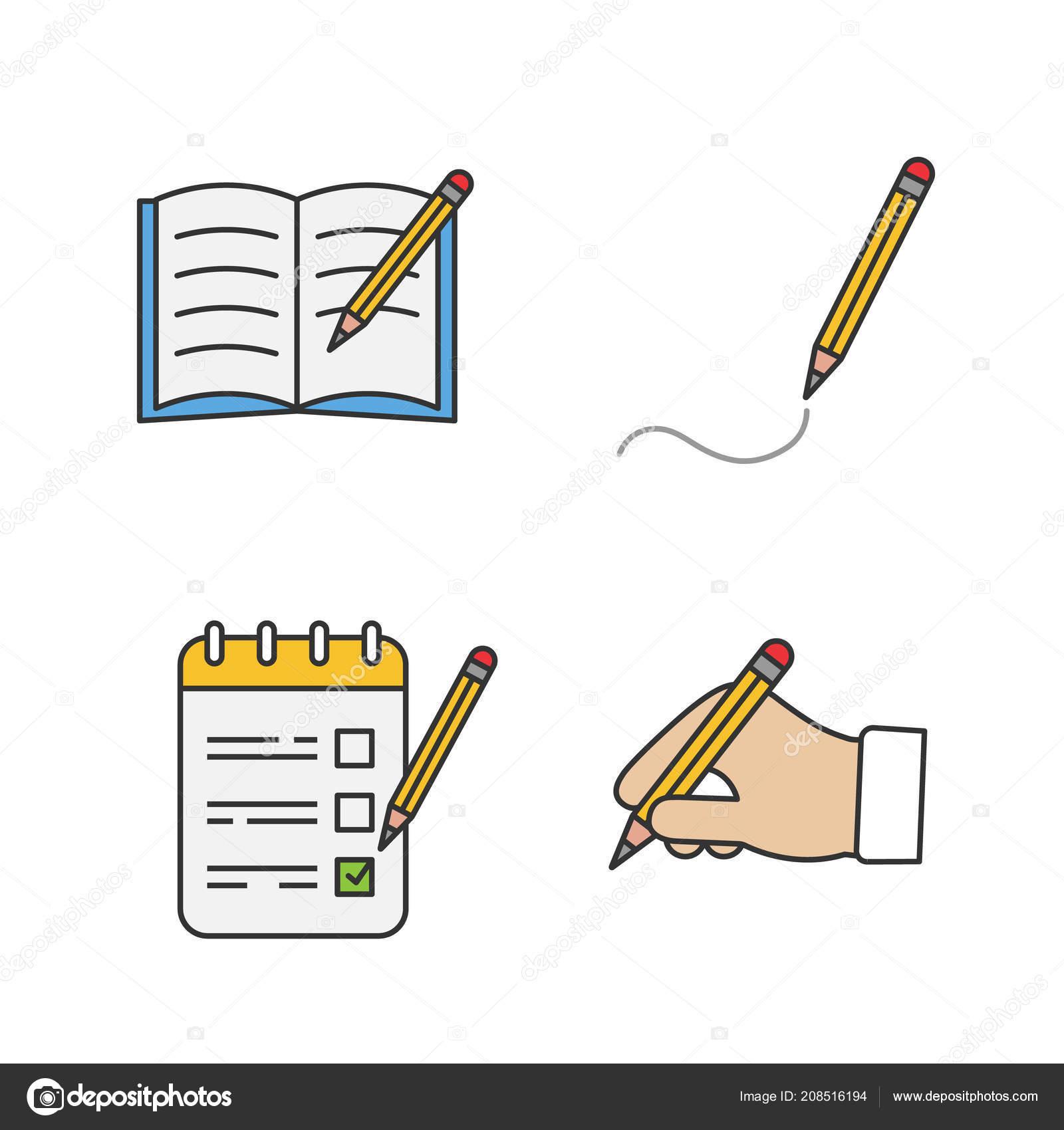 Psani Tuzkou Barevne Ikony Set Kopirovani Knihy Kresba Seznam Ukolu