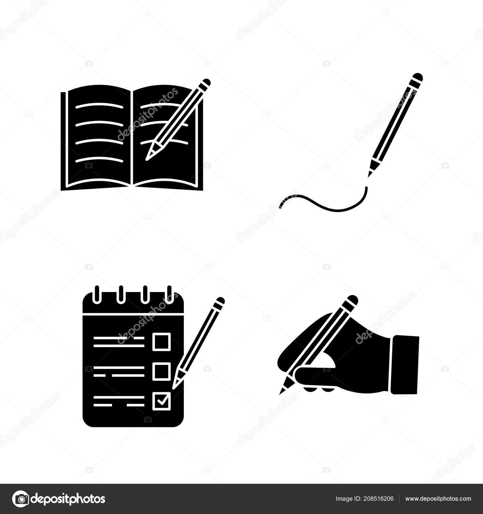 Psani Sady Ikony Glyfu Tuzka Kopirovani Knihy Kresba Seznam Ukolu