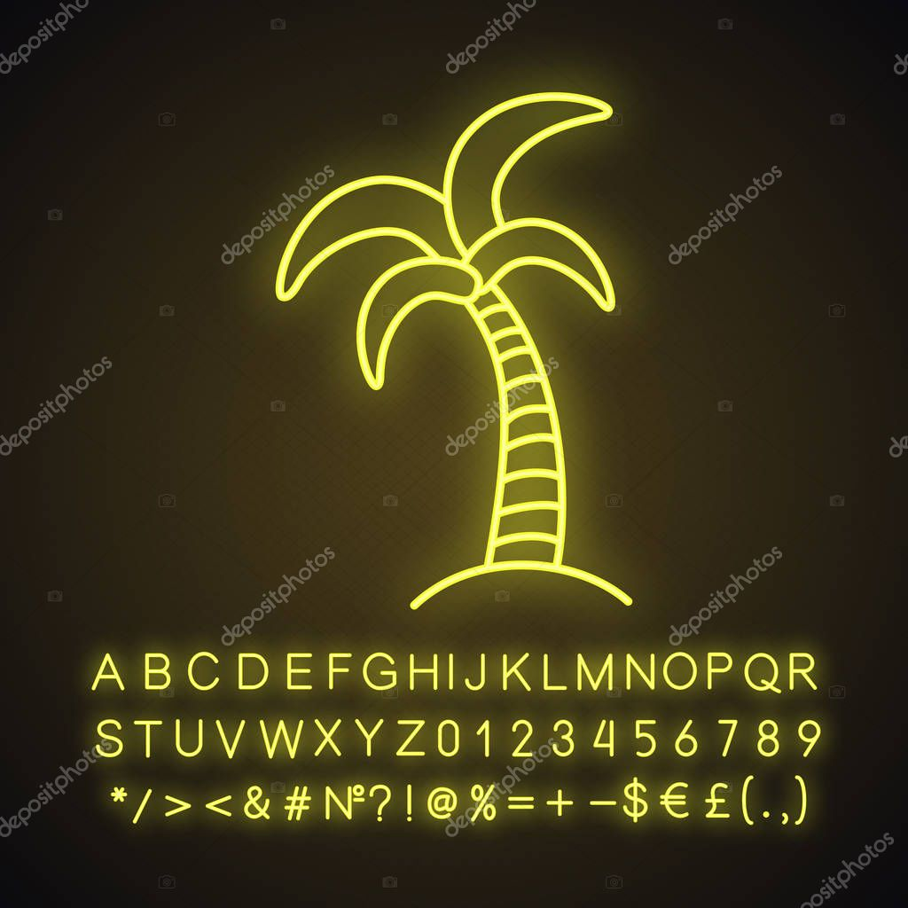 Palm tree neon light icon. Tropical island. Coconut tree. Glowing sign with alphabet, numbers and symbols. Vector isolated illustration