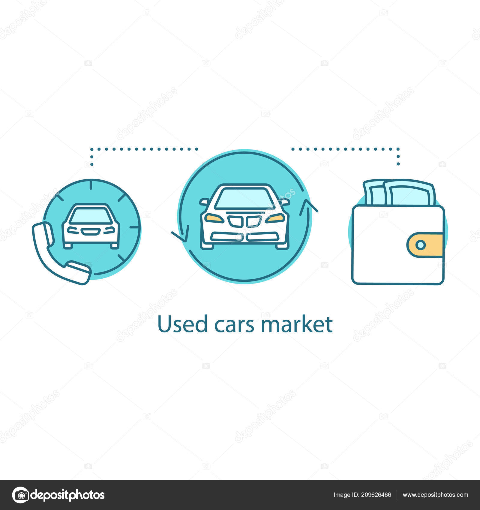 Used Cars Market Concept Icon Taxi Ordering Idea Thin Line Stock
