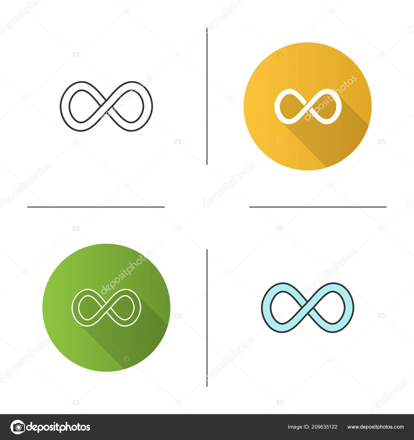 Infinity Sign Icon Lemniscate Endless Symbol Flat Design Linear