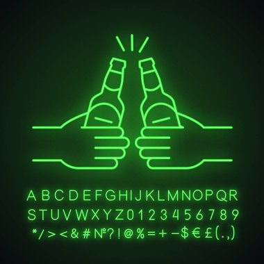 Toasting beer bottles in hands neon light icon. Glowing sign with alphabet, numbers and symbols