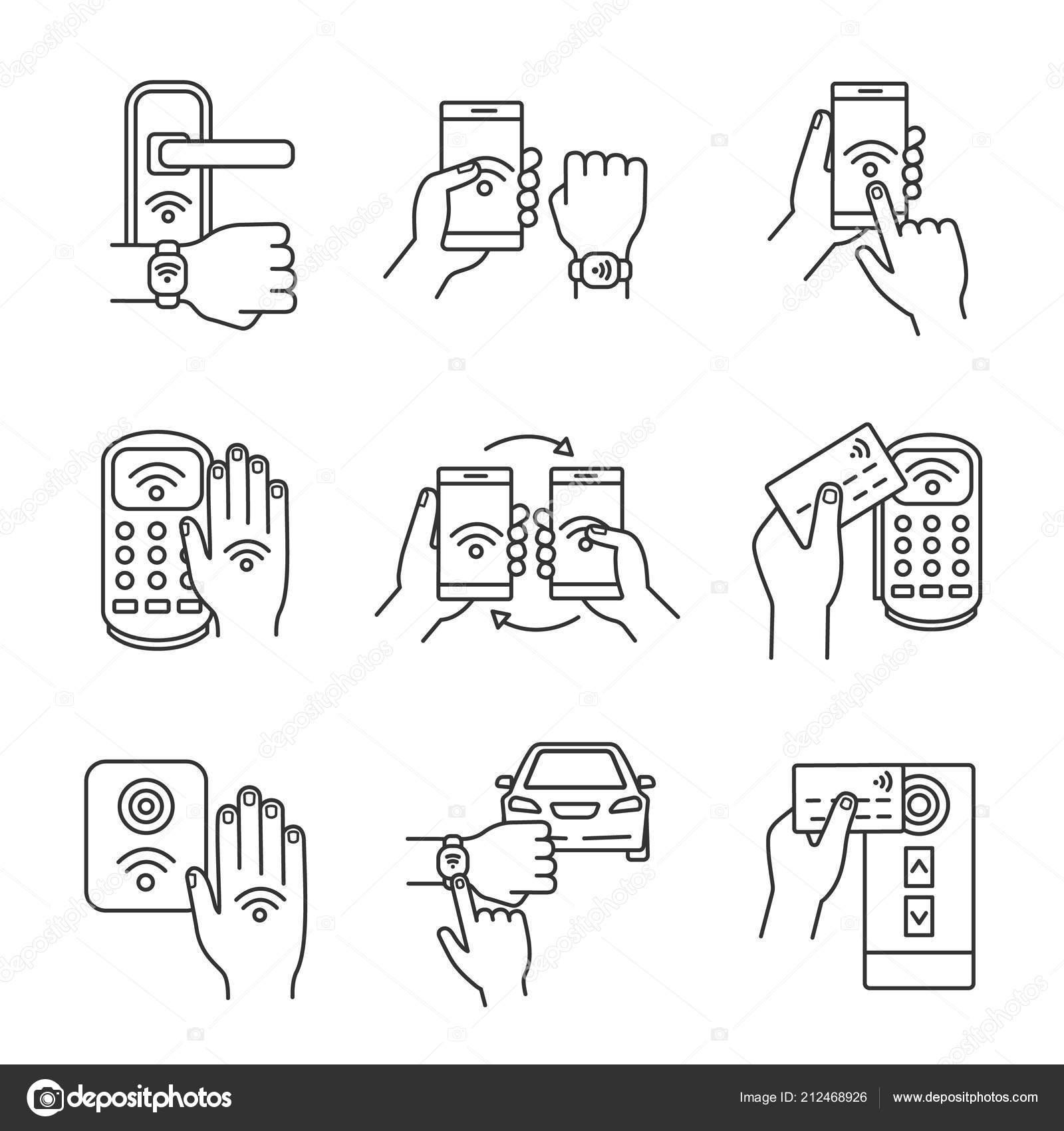 Nfc Technology Linear Icons Set Nfc Bracelet Door Lock Data — Stock