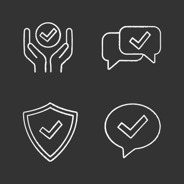 Approve chalk icons set, quality service icon
