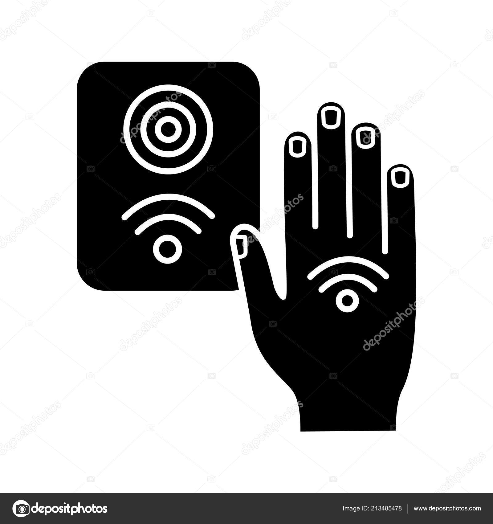Nfc Reader Glyph Icon Rfid Access Control — Stock Vector