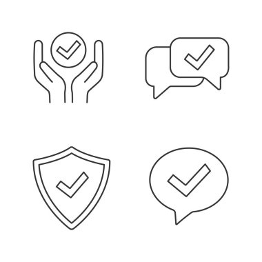 Approve linear icons set. icon