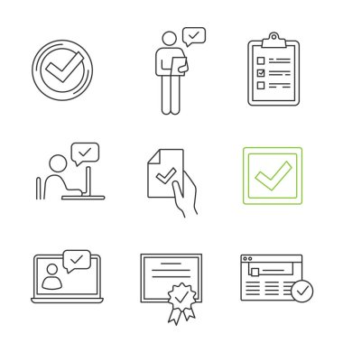 Approve linear icons set, check mark, manager, checklist, approved chat, contract signing, checkbox, certificate, browser verification, chatbot icon