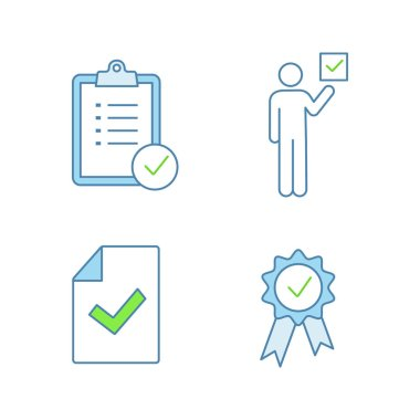 Approve color icons set, task planning, voter, document verification, award medal icon