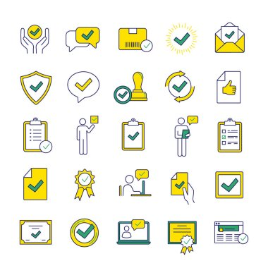 Approve color icons set, certificates, awards, quality badges with checkmarks icon