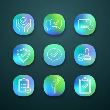 Approve app icons set, quality service, approved chat, delivery, security, dialog, stamp, task planning, voter, clipboard with checkmark icon