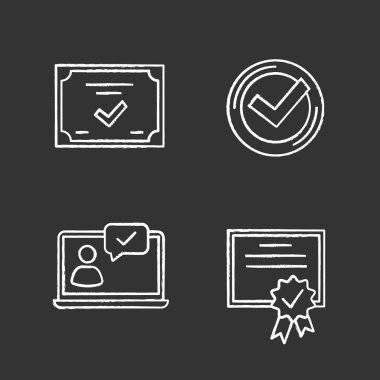 Approve chalk icons set, chat approved, certificate, check mark icon