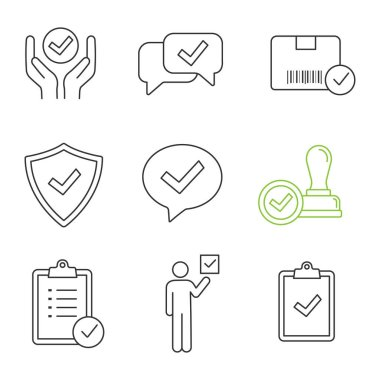 Approve linear icons set, quality service, approved chat, delivery, security, dialog, stamp, task planning, voter, clipboard with checkmark icon