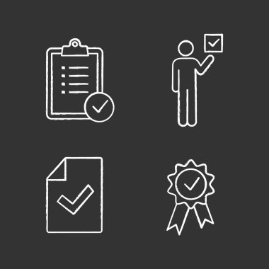 Approve chalk icons set, verification and validation icon