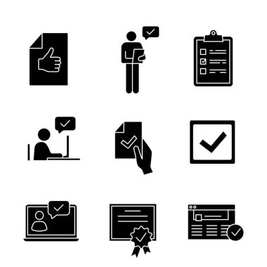Approve glyph icons set, approval document, person checking, checklist,approval chat, contract signing, checkbox, certificate, approved website icon