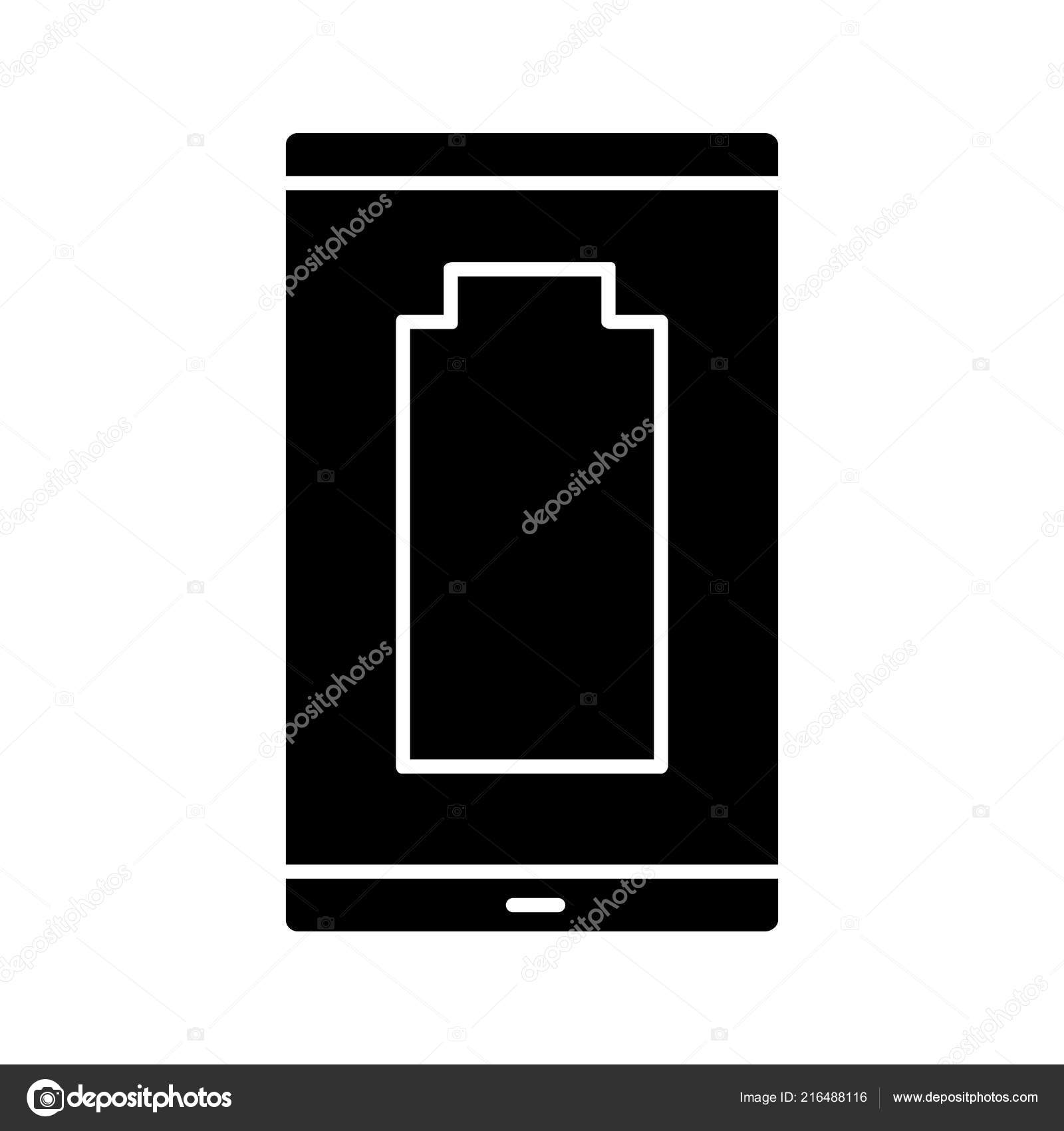 Discharged Battery Level Indicator Smartphone Glyph Icon Stock Vector
