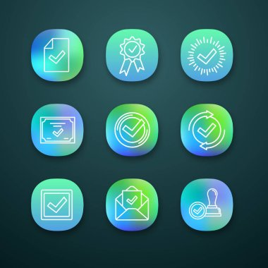 Approve app icons set. Document verification, award medal, check mark, certificate, checking process, checkbox, email confirmation, approved stamp. icon