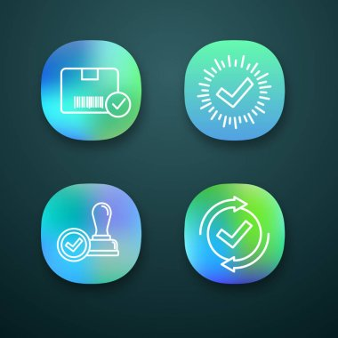 Approve app icons set. Approved delivery, check mark, stamp of approval, checking process. icon
