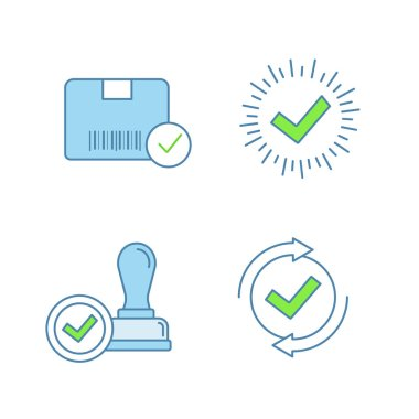 Approve color icons set. Approved delivery, check mark, stamp of approval, checking process. icon