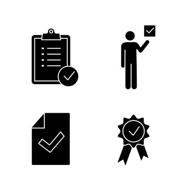 Approve glyph icons set. Task planning, voter, document verification, award medal. icon