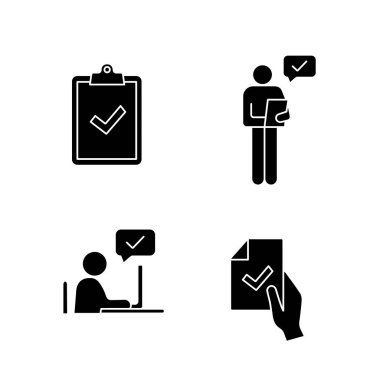 Approve glyph icons set. Clipboard with check mark, person checking document, contract signing, approval chat. icon