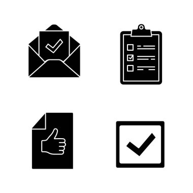 Approve glyph icons set. Task planning, email confirmation, checkbox, approval document. icon