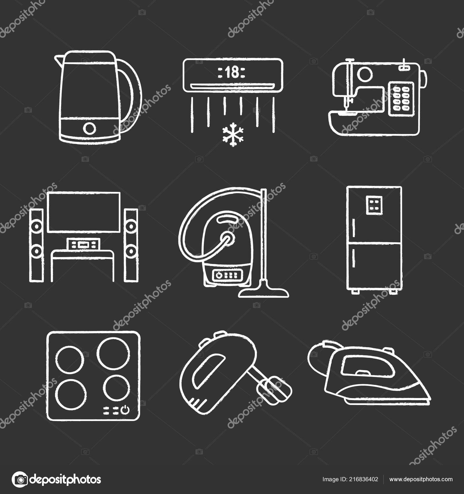 Pleasing Household Appliance Chalk Icons Set Electric Kettle Air Conditioner Wiring Cloud Hisonuggs Outletorg