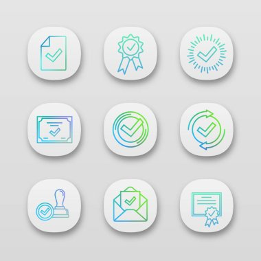 Approve app icons set. Document verification, award medal, check mark, certificate, checking process, license, email confirmation, approved stamp. icon