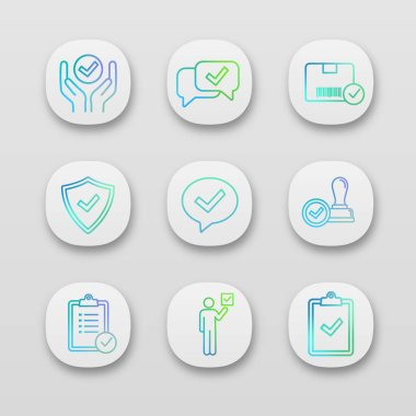 Approve app icons set. Quality service, approved chat, delivery, security, dialog, stamp, task planning, voter, clipboard with checkmark. icon