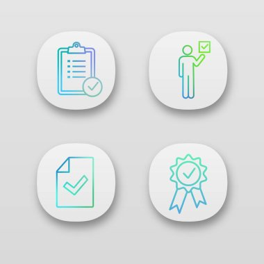 Approve app icons set. Task planning, voter, document verification, award medal. icon