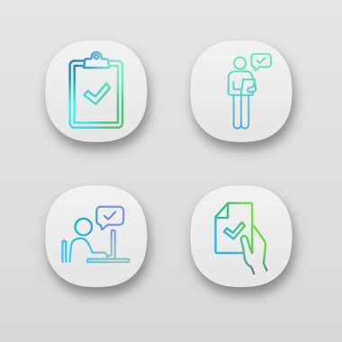 Approve app icons set. Clipboard with check mark, person checking document, contract signing, approval chat. icon