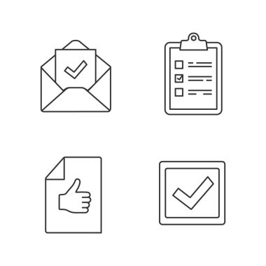 Approve linear icons set. Task planning, email confirmation, checkbox, approval document. icon