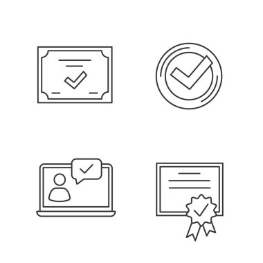 Approve linear icons set. Chat approved, certificate, check mark. icon